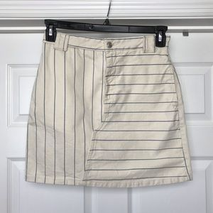 Topshop | Cream and Blue Stripe Denim Skirt
